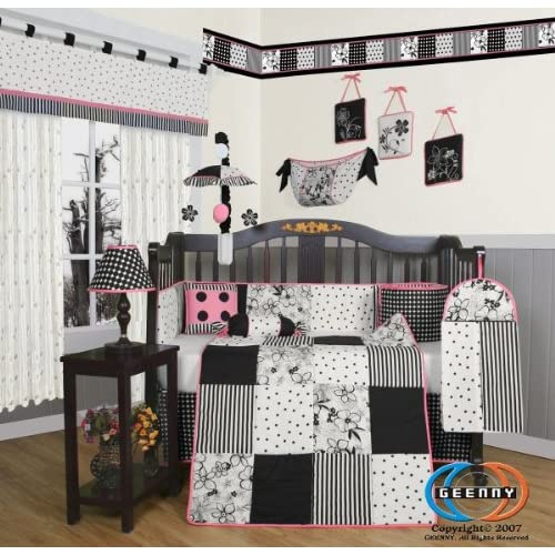 GEENNY Boutique Crib Bedding Set Beautiful Black White Flower and Dot 13 Piece
