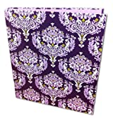 3 Ring bloom Fashion Binder 3-Ring Binder, 1 Inch Capacity, 8.5 x 11 Inches Purple Damask Design