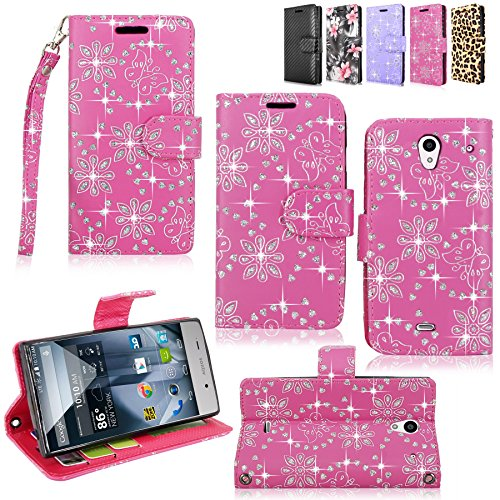 Sharp Aquos Crystal - Cellularvilla Pu Leather Wallet Card Flip Open Pocket Case Cover Pouch For Sharp Aquos Crystal 306SH (Pink Glitter) (Sharp Crystal Phone Case compare prices)