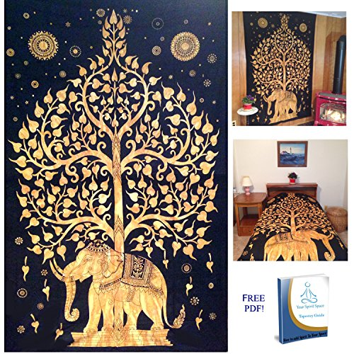 Your Spirit Space (TM) Black/Gold Good Luck Elephant Tapestry-Tree of Life. Quality Home or Dorm Hippie Wall Hanging. The Ultimate Bohemian Tapestry Decoration (Space Blanket Gold compare prices)