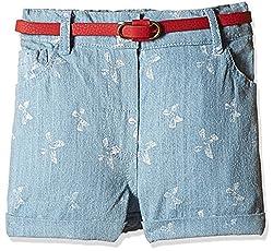 Nauti Nati Girls' Shorts (NSS16-713_Blue_6 - 7 Years)