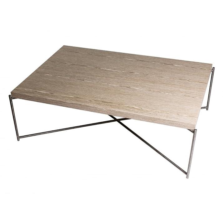 Gillmore Space weathered rovere Tavolino rettangolare con base a croce in metallo pistola