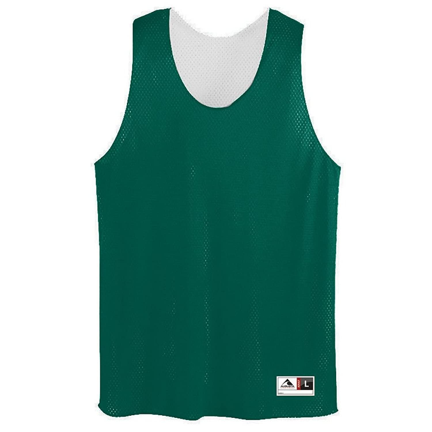 Youth Tricot Mesh Reversible Tank - GREEN WHITE - SMALL alleson athletic youth unisex reversible basketball shorts kelly green white s