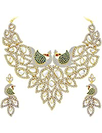 Sukkhi Sleek Peacock Gold Plated AD Necklace Set For Women