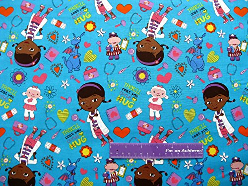 """43"""" Wide Doc Mcstuffins Hug Cotton Fabric By The Half Yard front-493077"""