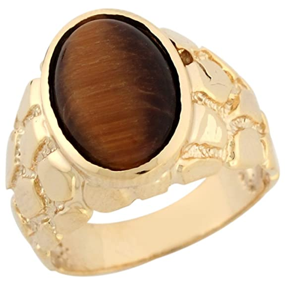 14ct Solid Yellow Gold Oval Tigers Eye Nugget Attractive Mens Ring