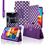 "SAVFY Samsung Galaxy Tab 4 7.0 7-inch PU Leather Case Cover and Flip Stand , Bonus: + Screen Protector + Stylus Pen + SAVFY Cleaning Cloth (for Galaxy Tab 4 7"" INCH T230/T231/T235, WiFi or 3G+WiFi) (Polka Dots PURPLE)"