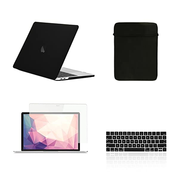 TOP CASE - 4 in 1 Matte Hard Case, Keyboard Cover, Sleeve, Screen Protector Compatible with MacBook Pro 13 with/Without Touch Bar Model: A1989 / A1706 / A1708 (Release 2016-2019) - Matte Black (Color: Matte Black, Tamaño: New MacBook Pro 13 (with/without Touch Bar))