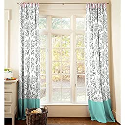 Carousel Designs Gray and Teal Damask Drape Panel 64-Inch Length Standard Lining 42-Inch Width