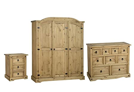 Seconique Corona 3 Piece Bedroom Set - 3 Door Wardrobe + 4+3+2 Drawer Chest + 3 Drawer Bedside Cabinet - Waxed Pine Colour