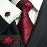 Landisun 30C Burgundy Black Paisleys Mens Silk Tie Set: Tie+Hanky+Cufflinks