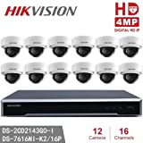 Hikvision CCTV System NVR & 4MP IP Camera Kits DS-2CD2143G0-I 4MP IR Fixed Dome IP Camera + DS-7616NI-K2/16P 4K NVR POE H.265, 2SATA 16 POE Replace DS-2CD2142FWD-I (16Channel + 12Camera) (Tamaño: 16Channel + 12Camera)