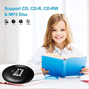HONGYU Portable Bluetooth CD Player with LCD Display/Headphone Jack Anti-Skip Protection Anti-Shock Personal Compact Disc Player for Kids Adults Students Personal Music CD Players (Black) (Color: HONGYU CDPlayer-CD611T Black)