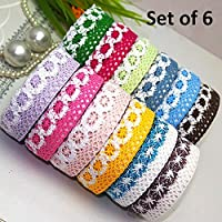 Set of 6 Colorful Adhesive Cloth Lace Tape Rolls for Arts, Crafts and other Creative Projects (Random Colors as Per Availability)