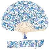 ブルー F (ディーループ)D-LOOP 暑さ対策 袋付き 丸扇子 扇子 母の日 ギフト 120428-010-617