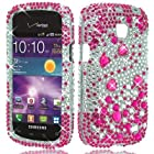 CELL PHONE CASE COVER BLING RHINESTONE SNAP ON FOR SAMSUNG ILLUSION i110/GALAXY PROCLAIM (VERIZON/STRAIGHTTALK) - HOT PINK BEAD [In CellCostumes Retail Packaging]