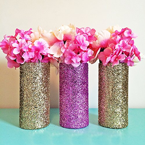3-gold-and-pink-glitter-glass-cylinder-vases-wedding-centerpieces-gold-wedding-gold-vases-gold-party