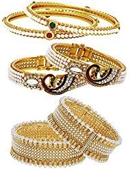 Jewels Galaxy Combo Of Broad Designer Pearls Bangles, Openable Mayur Bangles And Trendy Gold Plated Bangles -...