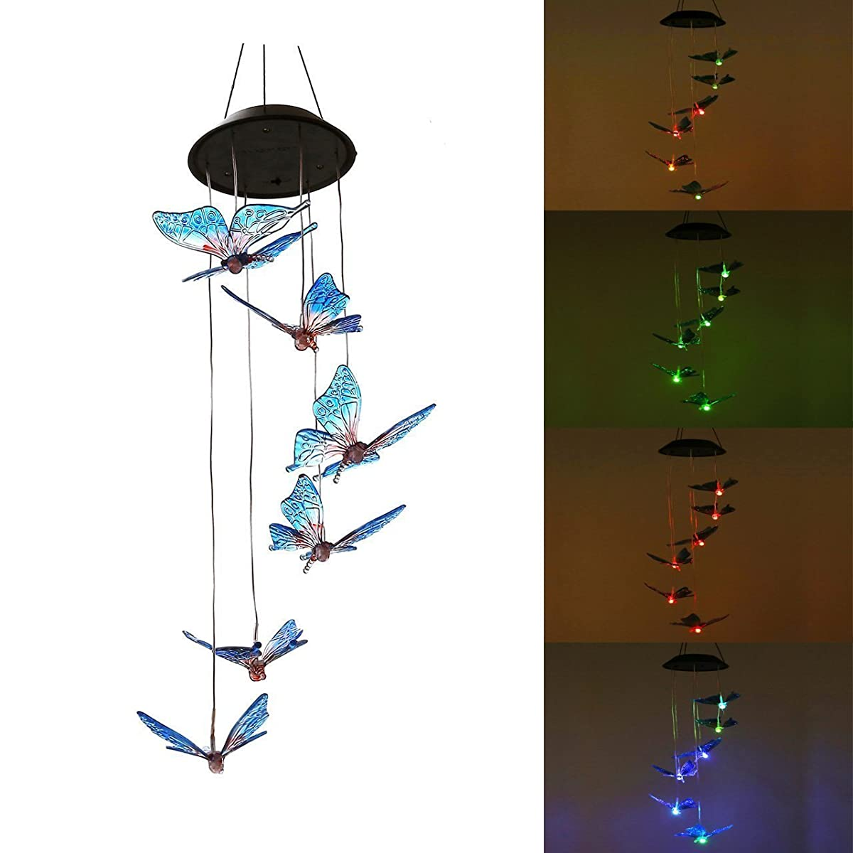 SINLOOG Color-Changing LED Color butterfly Wind Chime Solar Powered LED Hanging Lamp Wind Chime Light Wind Chimes for Outdoor Indoor Gardening Lighting Decoration Home (Color butterfly)