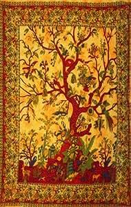 PLAIN TREE OF LIFE WALL ART SINGLE BED SOFA THROW BEDDING COVER boho yoga tapestry GREEN RED ORANGE BLUE WHITE (ORANGE)