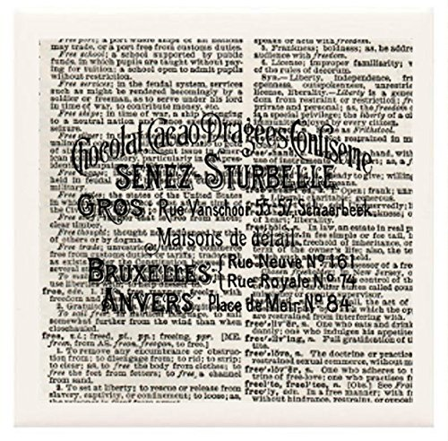 """Hand Made Coasters [Set Of 4] - Glorious Food """"Fancy Sign For French Chocolate Shop"""" Artwork Combines With Vintage Dictionary Pages, Ceramic Tiles And Specialty Materials To Create These Coasters From Our Design Collection - A Stylish And Chic Way To Add front-588546"""