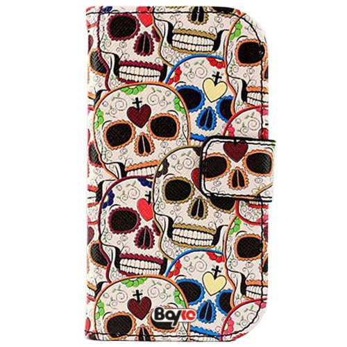 Bayke Brand / Apple Iphone 4 & Iphone 4S Pu Leather Wallet Type Flip Case Cover With Credit Card Holder Slots (Sugar Skull Print)