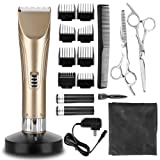 Hair Clippers Hair Trimmer Cordless Hair Clipper Set Quiet Electric Hair Shaver for Men and Babies Home Barber Haircut kit (Gold) (Color: Gold)