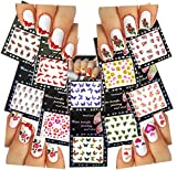 Nail Art Water Slide Tattoo Decals Butterflies, Roses, Emoticons, Hearts & More 10 Pack For Fun Nail Art