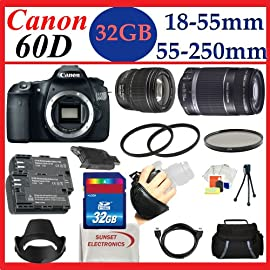 Canon EOS 60D 18 MP CMOS Digital SLR Camera with Canon EF-S 18-55mm f/3.5-5.6 IS Lens + EF-S 55-250mm f/4-5.6 IS + Huge Pro Shooter 32GB Accessory Package