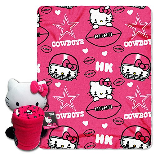 Nfl Dallas Cowboys Hello Kitty Fleece Throw With Hugger, 40 X 50-Inch, Pink front-484805