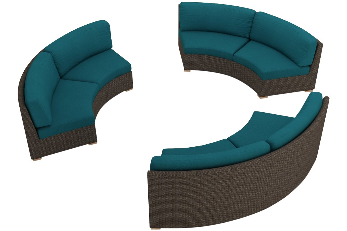 Harmonia Living 3 Piece Arden Curved Sectional Cushion Set - Spectrum Peacock
