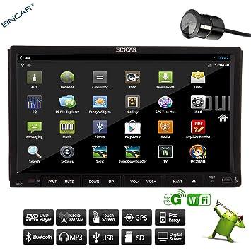 Sans Appareil photo + Android 4.217,8cm Double 2DIN lecteur DVD de voiture capacitif HD écran muilt-touch Radio stéréo de voiture + Navigation GPS + Bluetooth + iPod