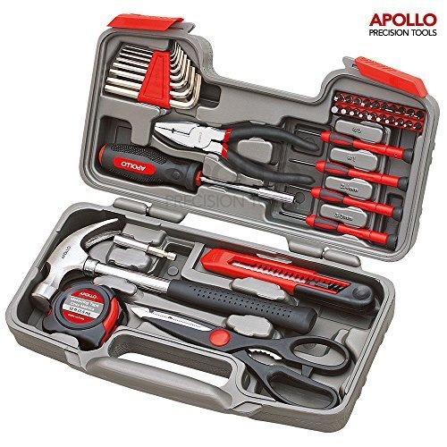 61YVokbI3DL - BEST BUY #1 Apollo Precision Tools 39 Piece DIY Home Household Toolkit with Combination Pliers in Box Case- Great Gift