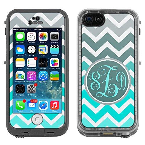 Skin Decal Monogram for LifeProof iPhone 5C Case – Chevron Grey Green Turquoise