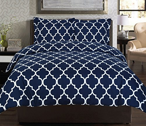 Printed-Duvet-Cover-Set-Navy-Brushed-Velvety-Microfiber-Luxurious-Comfortable-Breathable-Soft-Extremely-Durable-Wrinkle-Fade-Stain-Resistant-Hotel-Quality-By-Utopia-Bedding-Navy
