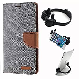 Aart Fancy Wallet Dairy Jeans Flip Case Cover for MicromaxQ380 (Grey) + Flexible Portable Mount Cradle Thumb OK Designed Stand Holder By Aart Store.