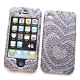 Apple iPhone 4 Snap-on Protector Hard Case Rhinestone Cover Pretty Hearts Design