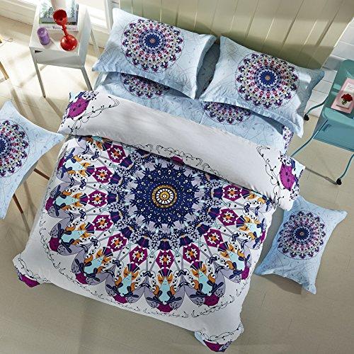 LELVA Bohemian Bedding Set Boho Style Bedding Duvet Cover Set Cotton Mandala Bedding Flat / Fitted Sheet Set 4pc (Full - Flat Sheet, 2) (Moroccan Bedding Full compare prices)