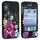 eForCity Snap-on Rubber Coated Case Compatible with Apple� iPhone � 4 / 4S, Rose Red / Purple Flower