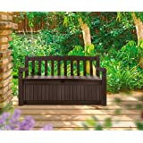 Outdoor Storage Bench, Deep Brown Deck Box and a Wonderful Furniture Storage Bench 70 Gallon Capacity Bench Box. Durable Resin Will Not Rust or Peel.