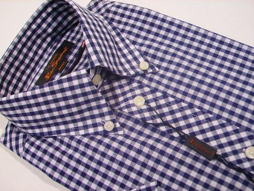 Ben Sherman Mod Skin Gingham Check Short Sleeve Shirt Navy Blue S