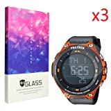 Lamshaw Screen Protector, 9H Tempered Glass Screen Protector for CASIO Smart Watch WSD-F20 Protrek Smart (Glass) (Color: glass)