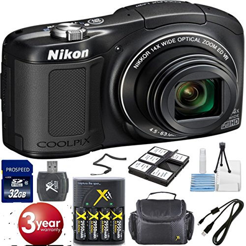 Nikon COOLPIX L620 18.1 MP CMOS Digital Camera with 14x Zoom Lens and Full 1080p HD Video - Black Special Christmas Bundle (In White Box, Not Retail Packaging) + 32GB High Speed Memory Card + Extra Rechargeable Batteries + Deluxe Card Reader + Deluxe
