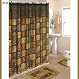 Leopard 15-Piece Bathroom Set: 2-Rugs/Mats, 1-Fabric Shower Curtain, 12-Fabric Covered Rings