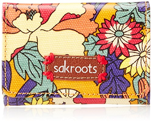 Sakroots Artist Circle Flap ID Keychain Wallet,Ochre Flower Power,One Size
