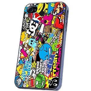 Sticker Bomb Style Designer iphone 4 4S Coque arriere Coque Case