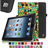 Fintie Stained Glass Mosaic Style Folio Leather Case Cover for iPad 4th Generation With Retina Display, the New iPad 3 & iPad 2 (Built-in magnet for sleep / wake feature) - Black