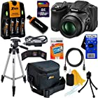 Nikon COOLPIX L830 16 MP CMOS Digital Camera with 34x Zoom NIKKOR Lens, HD Video & Tiltable 3 LCD - Black (Import) + 4 AA High Capacity Batteries with Quick Charger + 10pc Bundle 32GB Deluxe Accessory Kit w/ HeroFiber® Ultra Gentle Cleaning Cloth