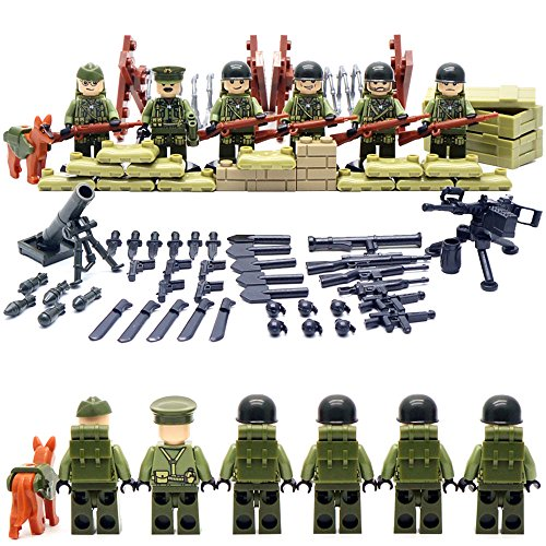 SuSenGo World War II Set US Commandos Brothers Team Marine Corps RPG Battlefield Minifigures Building Blocks (Christmas Toy Soldier)