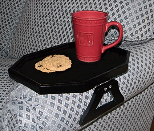 WOODEN CLIP ON ARM TABLE WITH PROTECTIVE LIP - BLACK BY JUMBL (Tv Trays With A Lip compare prices)